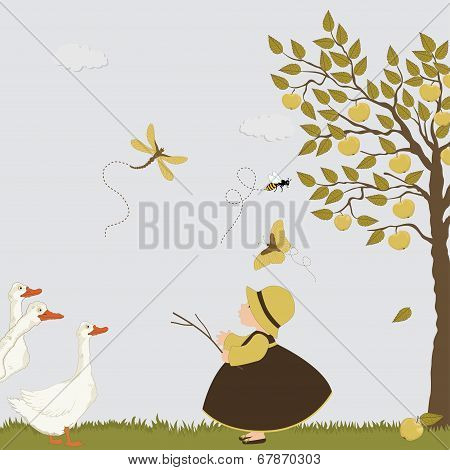 Cute Girl With Goose, Bee And Butterflies In The Orchard With Apple Trees