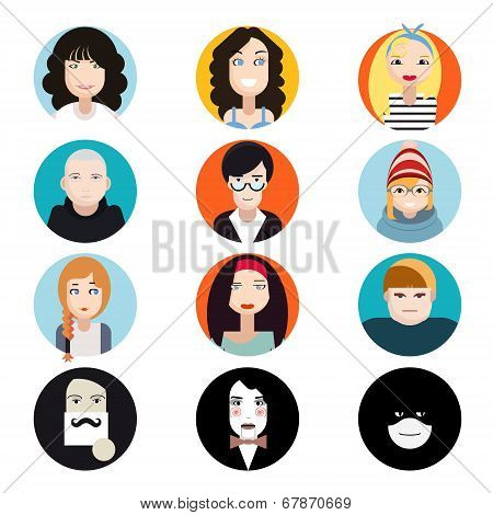 Avatar Collection of Stylish Handsome Male and Female Characters Faces Icons in Trendy Modern Flat D