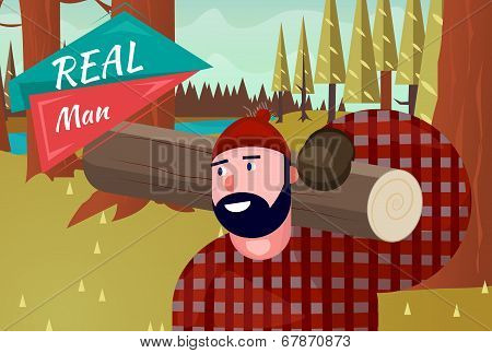Real Man Lifestyle Natural Life Cartoon Retro Wood Background Vector Illustration