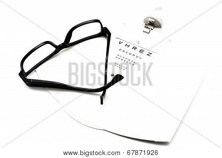 Eyeglasses And Eye Chart