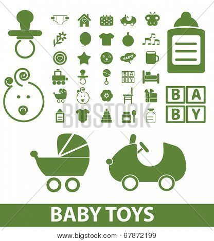 baby, children, toys, kid icons, signs, symbols set, vector