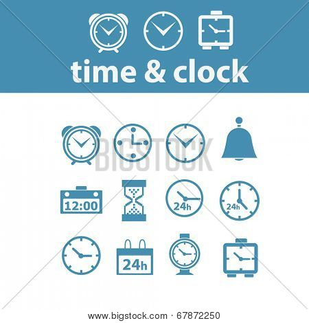 time, clock, delivery icons, signs, symbols set, vector