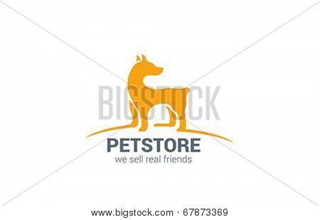 Pet shop Dog standing silhouette vector logo design. Real Friend concept icon.