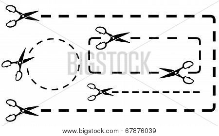 dotted line set with scissors cutting