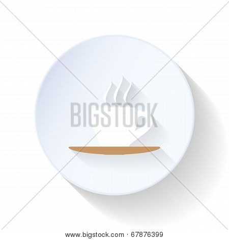 Coffee Cup On A Silver Platter Flat Icon