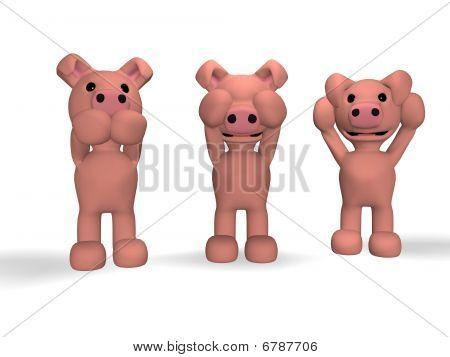 three monkeys ... piglets