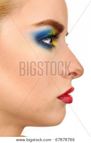 Beautiful woman with bright make-up, close up