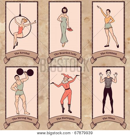 Vintage Circus Characters Set: Acrobat, The Bearded Lady, Gymnast, Strong Man, Harlequin, Mime