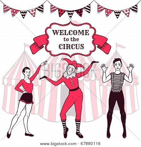 Circus Performance Advertisement With Performers