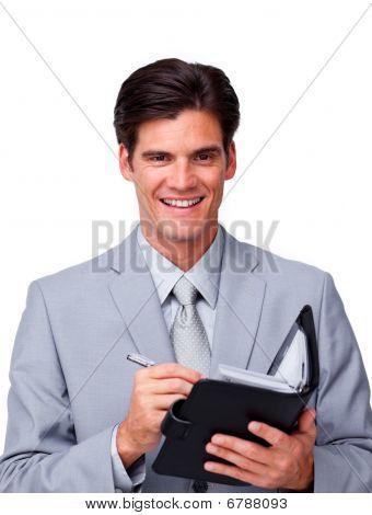 Charismatic Businessman Holding An Agenda