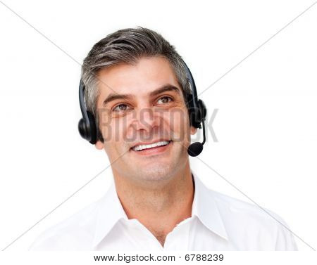 Happy Businessman Using Headset