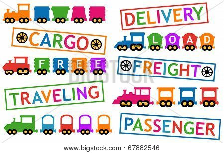 set Colorful Trains For Travel And Cargo Transportation