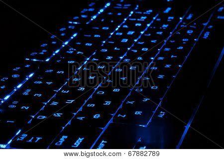 Blue Lighting Keyboard In The Dark
