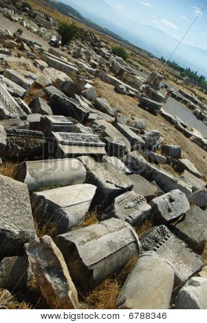 Perspective View With Ruins And Remains Of The Ancient City Of Hierapolis