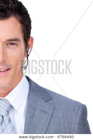 Attractive Male Executive With Headset On