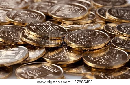 Many gold coins background. Loose Change.