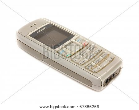 GOMEL, BELARUS - MAY 23, 2014: Nokia 1600 on a white background. Nokia Oyj is a Finnish communications and information technology multinational corporation that is headquartered in Espoo, Finland