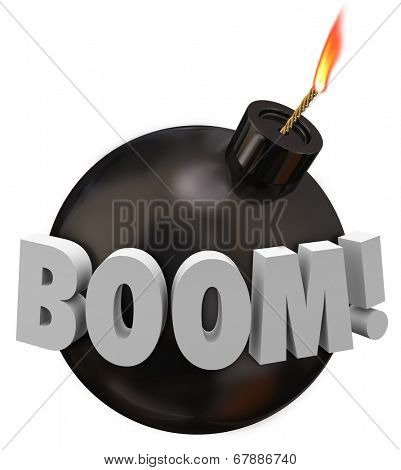 Boom word on a round black bomb with wick and flame warning you of danger explosion
