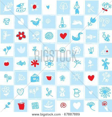 Holland delfts blue seamless pattern with flowers