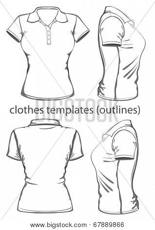Womens polo shirt design template vector photo bigstock womens polo shirt design template front back and side view outline pronofoot35fo Choice Image