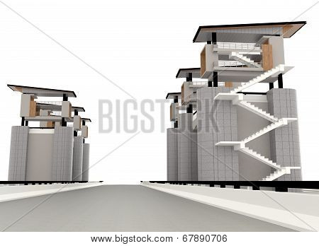 Surveillance Tower In 3D Exterior Design