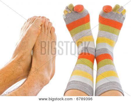 colorful Socke und Einfrieren Füße