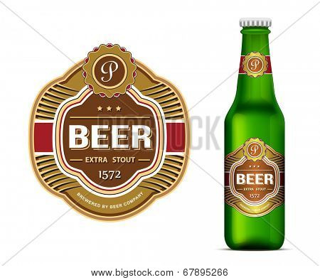 Beer label template and green beer bottle label mockup. Vector illustration