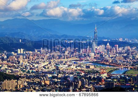 Skyline Of Xinyi District In Downtown Taipei, Taiwan