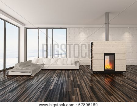 Spacious airy minimalist living room interior with large view windows, a wooden parquet floor, fire burning in an insert woodburner and modern sofa