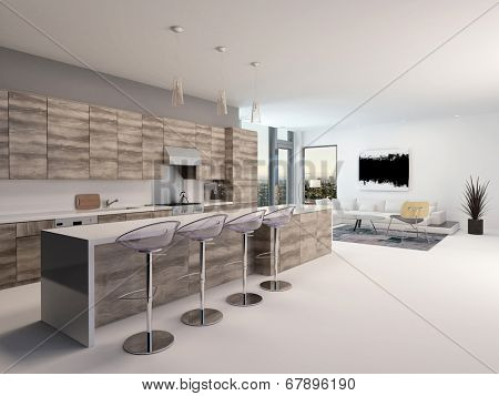Rustic style wooden open-plan kitchen interior with a long bar counter and stools in a spacious living room with corner windows