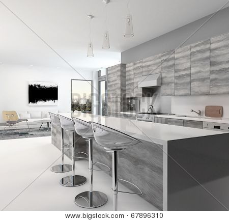 Rustic gray style wooden open-plan kitchen interior with a long bar counter and stools in a spacious living room with corner windows
