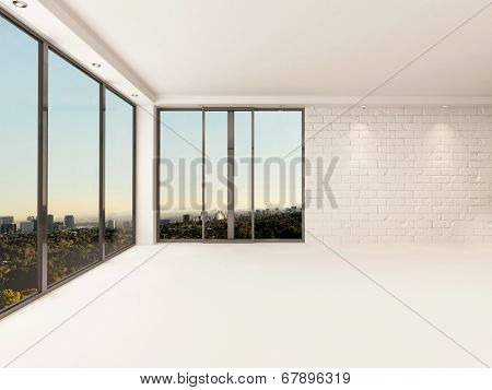 Bright airy empty apartment living room interior with painted white brick walls, floor and ceiling and large view windows overlooking a town