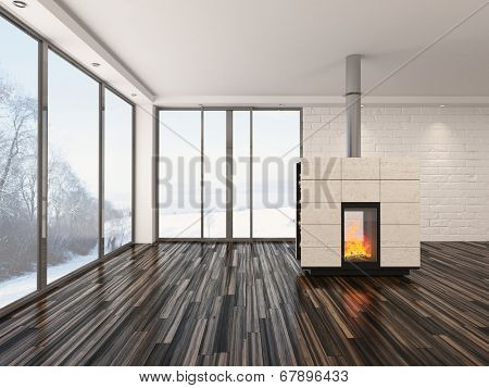 Large spacious empty living room interior with a fire burning in an insert woodburner , large view windows, white walls and ceiling and a parquet floor