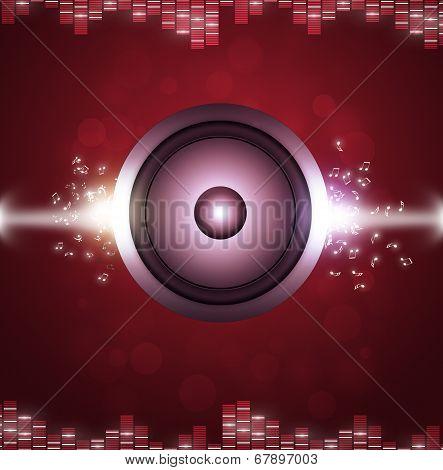 Red Sound Speakerl Music Background