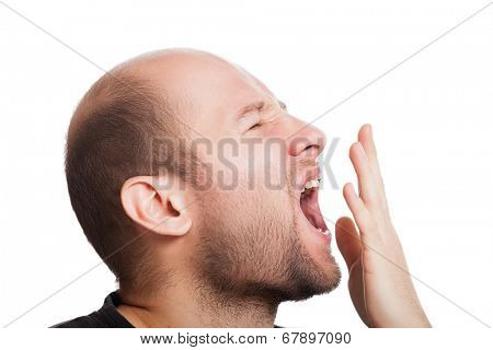 Tired adult man wide open mouth yawning white isolated