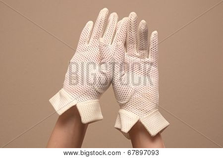 Woman Modeling Vintage Mesh Formal White Gloves