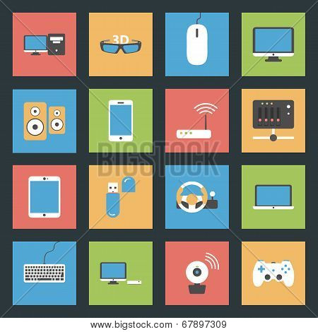 Computers, Peripherals And Network Devices Flat Icons Set