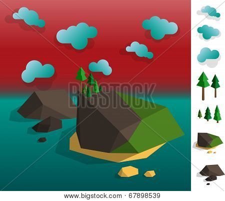 Illustration Of Geometric Island Archipelago Landscape