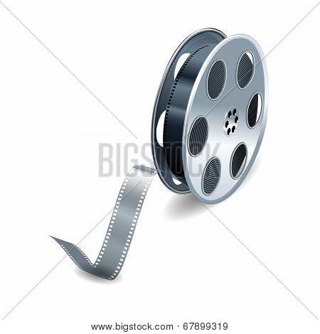 Vector film reel  over white background