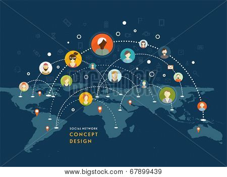 Social Network Vector Concept. Flat Design Illustration for Web Sites Infographic Design. Communication Systems and Technologies.