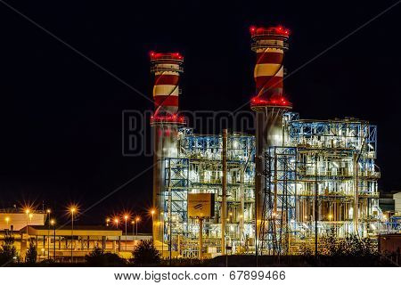 Arrubal, Spain - June 21: Contourglobal's Power Plant At Night