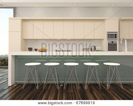 Modern open plan apartment kitchen interior with a counter with bar stools and wooden wall mounted cabinets painted cream alongside a view window