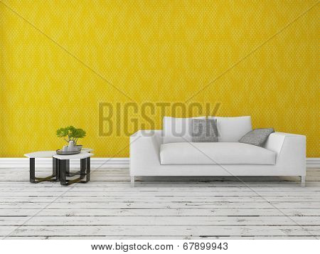 Modern sofa with a nest of small tables and bonsai tree in front of a gold wall on a rustic wooden floor painted white with copyspace