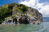 stock photo of bluff  - Bluff with selvatic vegetation in Mediterranean sea - JPG