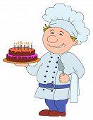 foto of pie-in-face  - Cartoon cook with pie - JPG