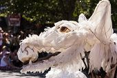 image of parade  - A giant wolf puppet made with wire and sheets playing with a ball in its jaws during the annual 2014 Fremont Summer Solstice Parade - JPG