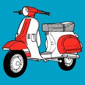 foto of vespa  - 60s Scooter illustration retro vintage pop motocycle moto - JPG