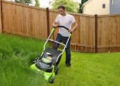 image of grass-cutter  - Man cutting the grass Guy pushing lawn mower - JPG