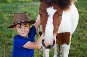 stock photo of breed horse  - Little boy with cowboy hat and pony horse