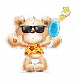 image of teddy  - Cute Teddy bear with the cocktail in the summer glasses and Hawaiian shirt